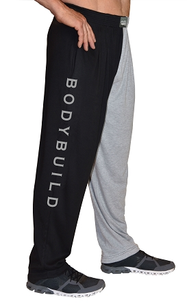 Classic Two Tone Relaxed Fit Baggy Pants With Bodybuild Design