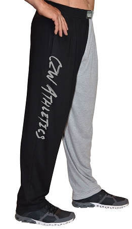Classic Two Tone Relaxed Fit Baggy Pants With CZW Athletic Design In Grey