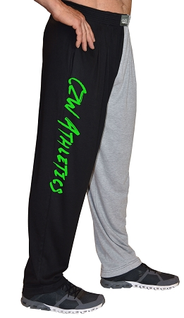 Classic Two Tone Relaxed Fit Baggy Pants With CZW Athletic Design In Neon Green