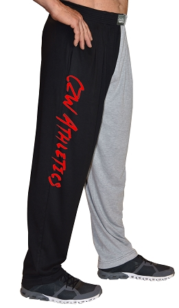 Classic Two Tone Baggy Pants With CZW Athletic Design In Red