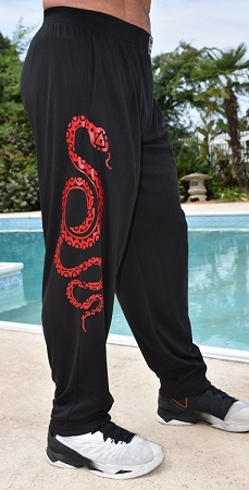 Style 500 Classic Black With Serpentine Red Design  Relaxed Fit Soft Baggy Pants For Men And Women