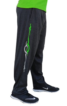 Style 500 Classic Relaxed Fit Solid Charcoal Grey Pants For Men And Women With Grey And Neon Green Eclipse Design
