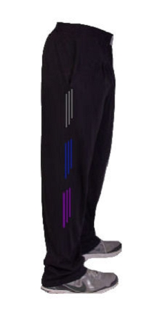 Style 500 Classic Relaxed Fit Solid Black Baggy Pants For Men And Women With Grey, Blue And Purple Stripes