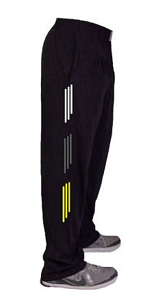 Style 500 Classic Relaxed Fit Solid Black Baggy Pants For Men And Women With White, Grey And Yellow Stripes