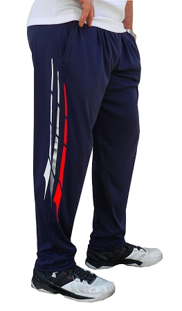 Style 500 Classic Relaxed Fit Solid Navy Blue Pants For Men And Women With White, Grey And Red Triton Design