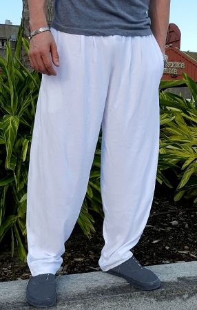 Style 500 Classic Solid White Relaxed Fit  Baggy Pants For Men And women