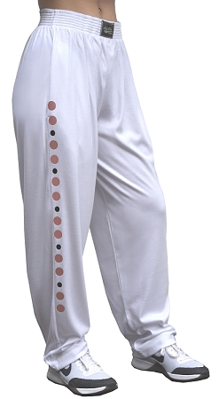 Style 500 Classic White Relaxed Fit Soft Baggy Pants With Rose Gold Universal Design