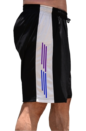 Style 600MS Micro blend black/White training shorts with Purple And Blue Stripes