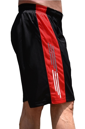 Style 600MS Micro blend black/Red training shorts with Grey And White Stripes