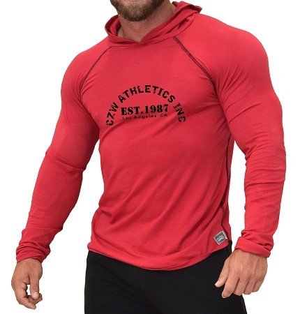 Long Sleeve Hoodie In Red With CZW Athletics Design