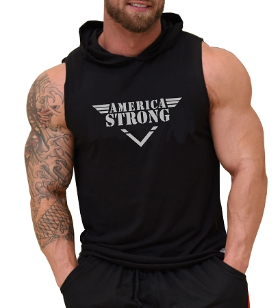 Pacific Sleeveless Hoodie In Black With America Strong Design