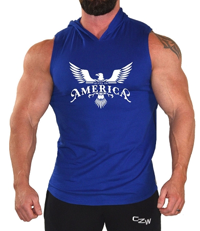 Pacific Sleeveless Hoodie In Blue With Built In America Design