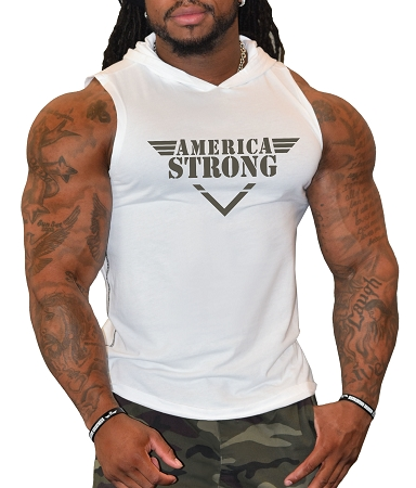 Pacific Sleeveless Hoodie In White With America Strong Design