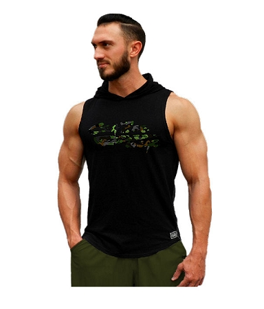 Pacific Sleeveless Hoodie 100% Cotton Fitted And Tapered To Waist In Black  With Camo Crazee Wear