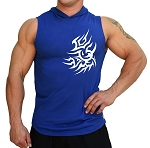Pacific Sleeveless Hoodie 100% Cotton Fitted And Tapered To Waist In Blue With Tatoo Design