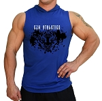 Pacific Sleeveless Hoodie 100% Cotton Fitted And Tapered To Waist In Blue With CZW Athletics Tiger Design