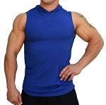Pacific Sleeveless Hoodie 100% Cotton Fitted And Tapered To Waist In Blue