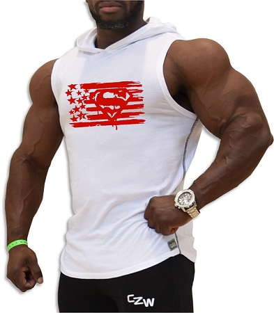 Pacific Sleeveless Hoodie 100% Cotton Fitted And Tapered To Waist In White With Red Super Flag