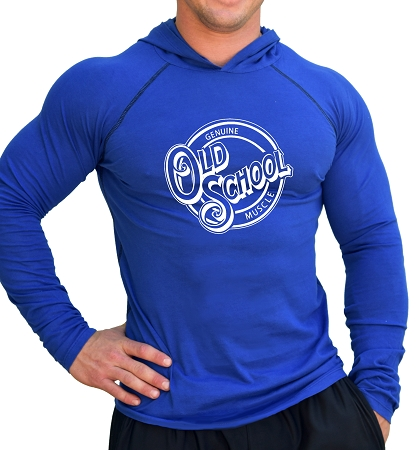 Long Sleeve Royal Blue Fitted Hoodie With Old School Design