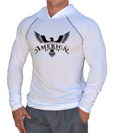 Fitted T-Shirt Pacific Hoodie (White) For Men And Women With Built In America Design