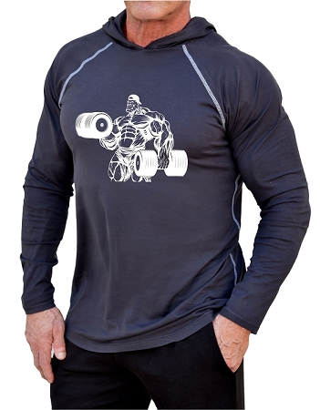 Long Sleeve T-Shirt  Fitted Pacific Hoodie In Charcoal With White Curl Muscle Man Design