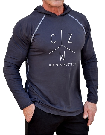 Long Sleeve T-Shirt  Fitted Pacific Hoodie In Charcoal With White CZW Athletics USA  Design