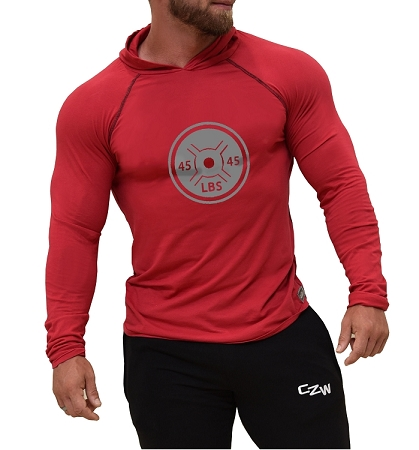Long Sleeve T-Shirt  Fitted Pacific Hoodie In Red With 45 Lb. Plate
