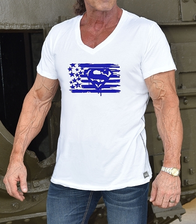 New Style 670V White, summer cool, light weight,  Fitted V-Neck Shirt With Blue Super Flag design