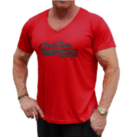 New Style Red 680V Pre shrunk, garment died , Relaxed Fit  V-Neck  With Versa Tempered Steel Crazee Wear Design