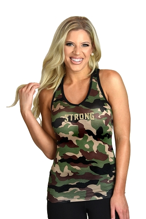 Style 340 Camo Stretch Fabric Racer back Tank Top With Strong Design