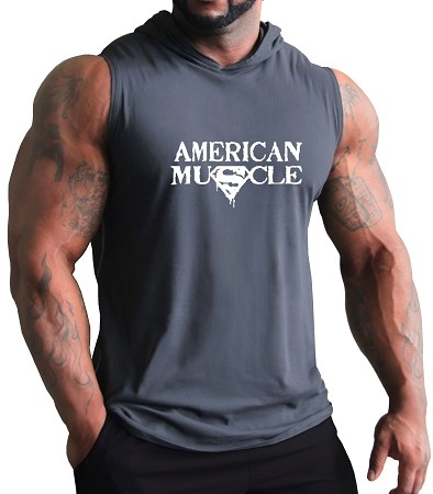 Pacific Sleeveless Hoodie 100% Cotton Fitted And Tapered To Waist In Charcoal with American Muscle design In White