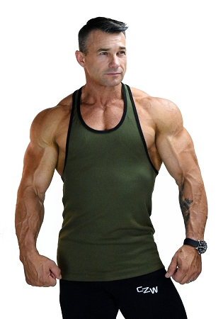 Stringer Tank Top In Army Green And Black Trim
