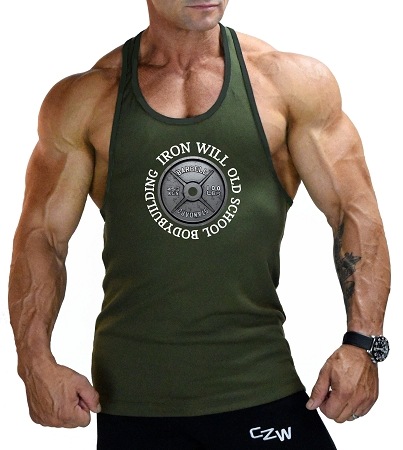Stringer Tank Top In Army Green With Iron Will Design