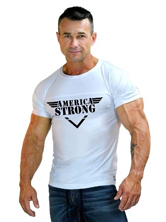 310s White Spandex/Cotton  Muscle Top With America Strong Design