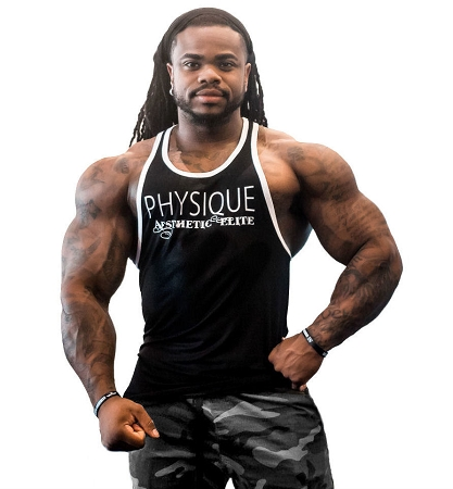 Stringer Tank Top In Black And White Trim  With Physique Aesthetic Elite Design