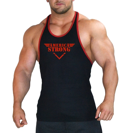 Stringer Tank Top In Black With Red Trim With  America Strong design