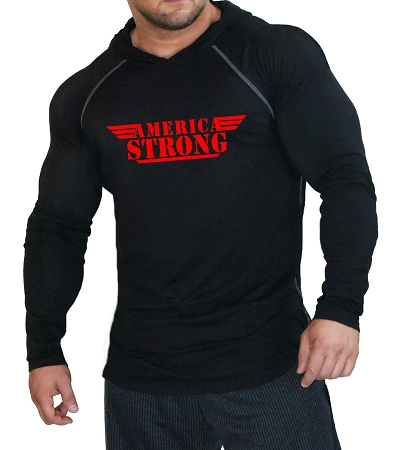 Fitted T-Shirt Pacific Hoodie (Black) For Men And Women With Built In America Design