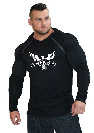 Pacific Sleeveless Hoodie In Black With Built In America Design
