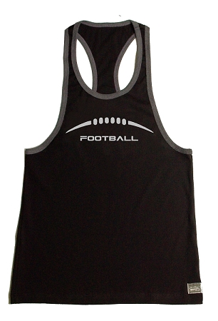312R  Black Tank Top With Grey Trim With Charcoal Football Graphics