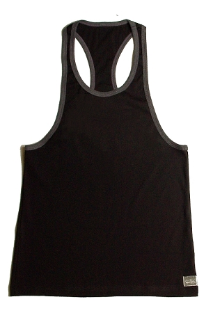 Crazee Wear 312RC Black Rib Stretch Fitted Tank Tops With Grey Ribbing