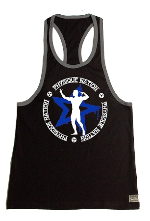 Crazee Wear 312RC Black Rib Stretch Fitted Tank Top With Grey Trim With Physique Nation Emblem Blue Star