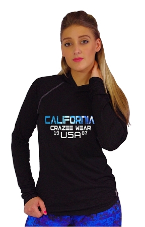 T-Shirt Pacific Hoodie Black With California Crazee USA 1987