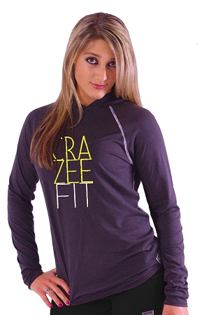 T-Shirt Pacific Hoodie Charcoal Grey With CRAZEE FIT Design