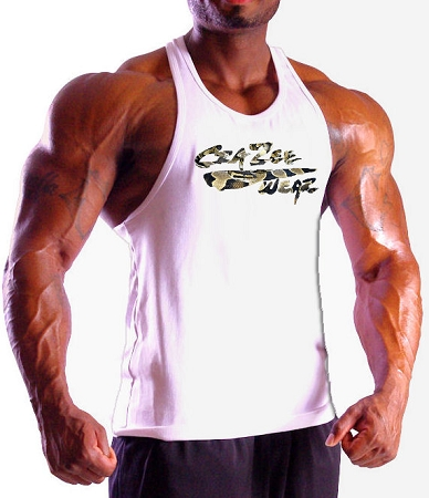 Crazee Wear 312R White Rib Stretch Fitted Tank Top With Crazee Wear Logo With Snake Design
