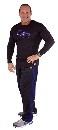 micro fiber pants  600MPS (black with royal blue stripes