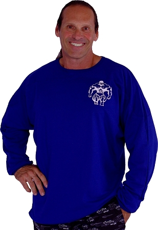 Style 444FT Blue Sweat Shirt  Top W/Largel Muscle Man On Back And Small Muscle Man In Front