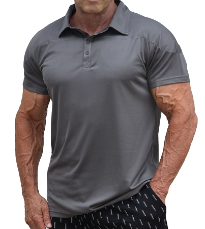 Solid Charcoal Grey Athletic Fitted Polo
