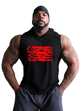 Pacific Sleeveless Hoodie 100% Cotton Fitted And Tapered To Waist In Black With Super Flag Design In Red