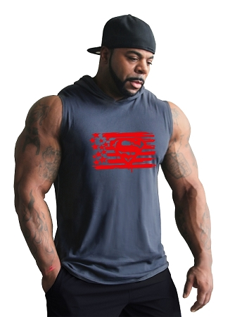 Pacific Sleeveless Hoodie 100% Cotton Fitted And Tapered To Waist In Charcoal grey With Super America Design In Red