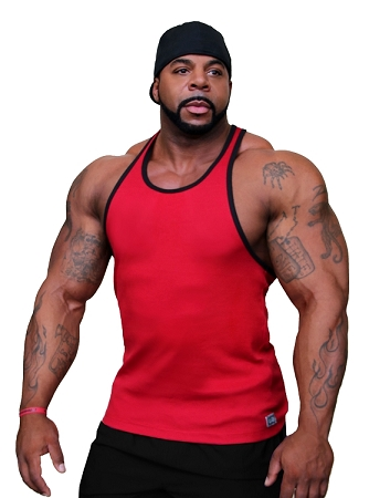 Crazee Wear 312RC Red Rib Stretch Fitted Tank Tops With Black Ribbing